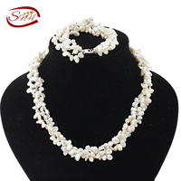 SNH 3 4mm keshi AA hot selling natural pearl jewelry set top quality 925 sterling silver necklace&bracelet best price