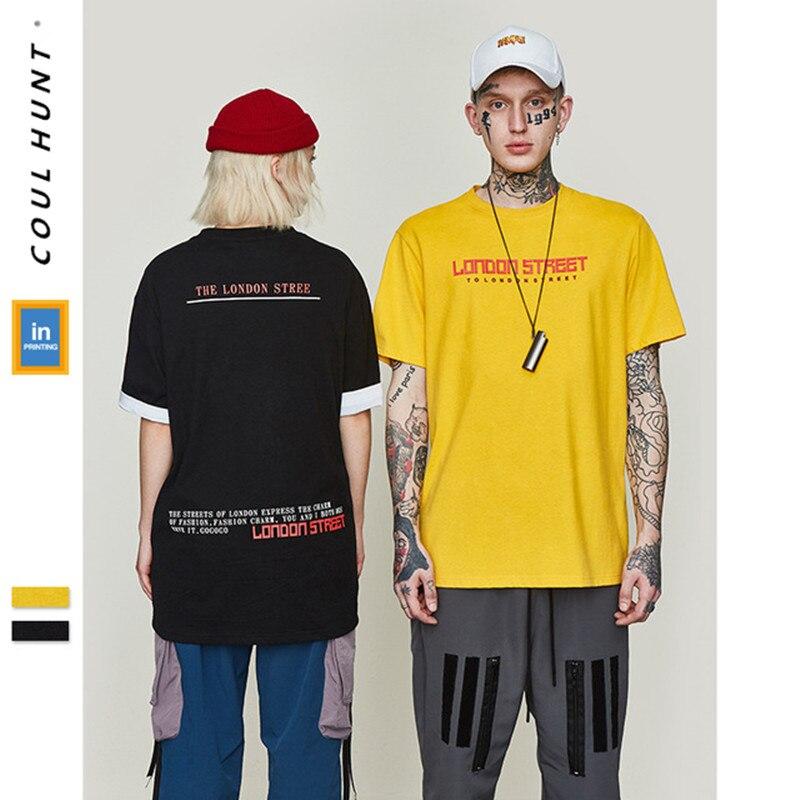 2019 SS Skateboard Summer THE LONDON STREET Printed Loose Tees Unisex Hip Hop Black Yellow Short Sleeve Cotton Casual T Shirt