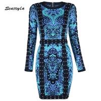 Seamyla High Quality Jacquard Weave Bandage Dress Women Fashion Blue Lace Up Winter Dress Sexy Bodycon Celebrity Party Dresses