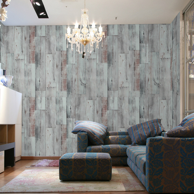 PAYSOTA Vintage Wood grain Grey Wallpaper Bedroom Living Room Sofa ...