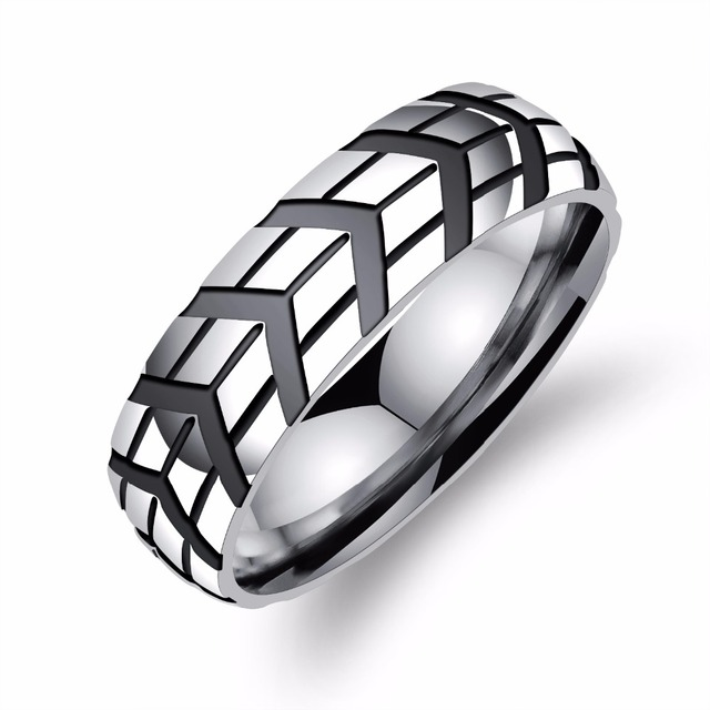 2017 New Arrival Stainless Steel Ring Men Jewelry Punk Hiphop Rock 6MM Wheel Design Wedding Bands