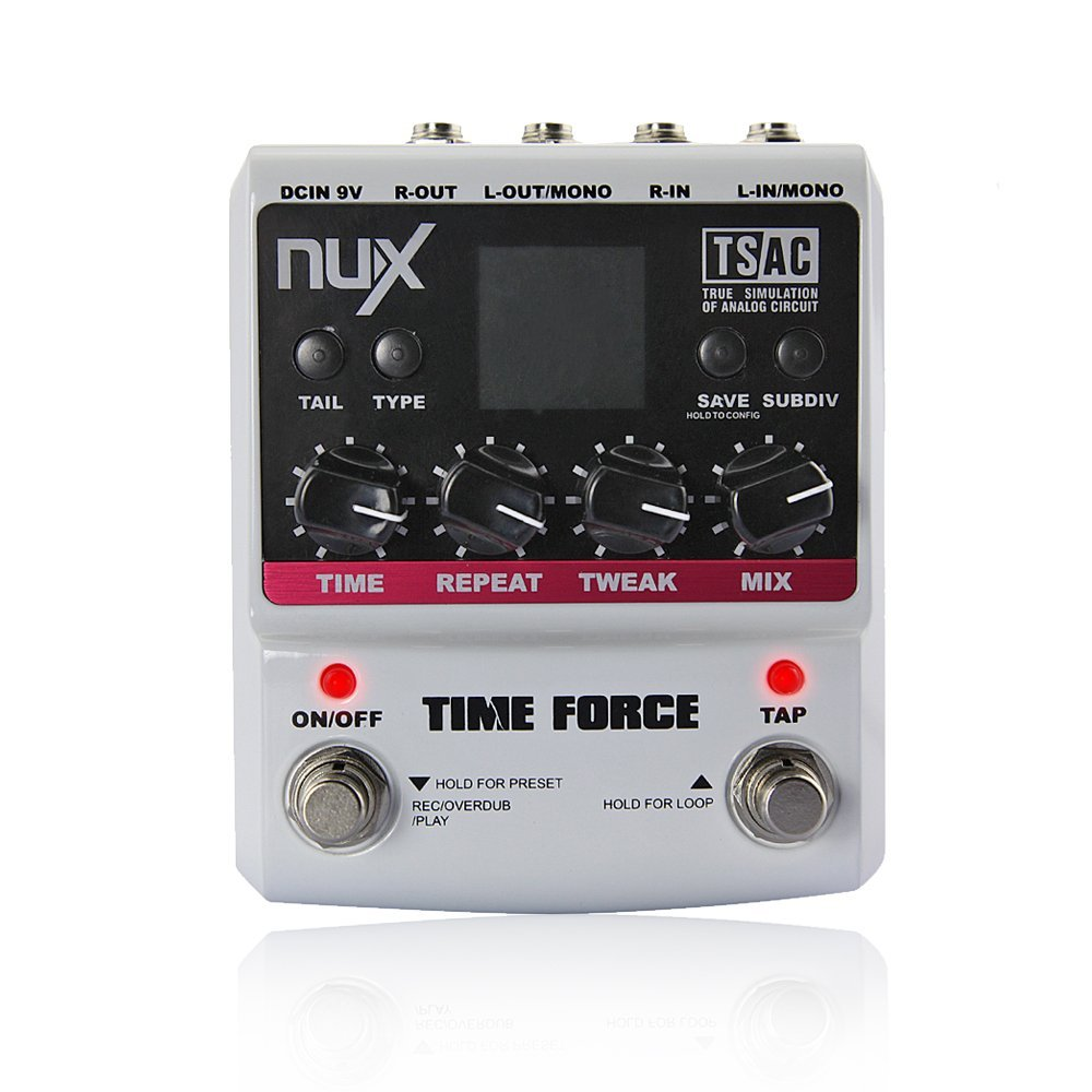 NUX Time Force Multi Digital Delay Effect Guitar Pedal (11 Delay Effects+9 preset+Kill dry function+Tail keeping function) nux 1 8 lcd time force delay guitar effect pedal white black