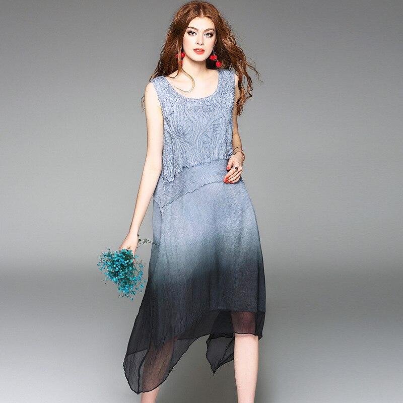 Wysokiej jakości 100% jedwabiu sukienka z tkaniny kolor gradientu aplikacje bez rękawów, luźne proste sukienki elegancki styl nowy mody 2017 w Suknie od Odzież damska na  Grupa 2