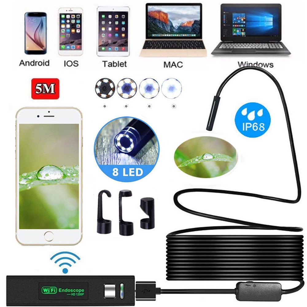 Multifunctional WIFI Endoscope mini Camera HD 1200P Mini cam Waterproof Hard Wire wireless 8mm Lens 8 LED Borescope Camera