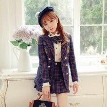 Милое пальто принцессы в стиле Лолиты; BoBON21; дизайн; студенческий стиль; британский стиль; клетчатое пальто с двойной вышивкой; C1271