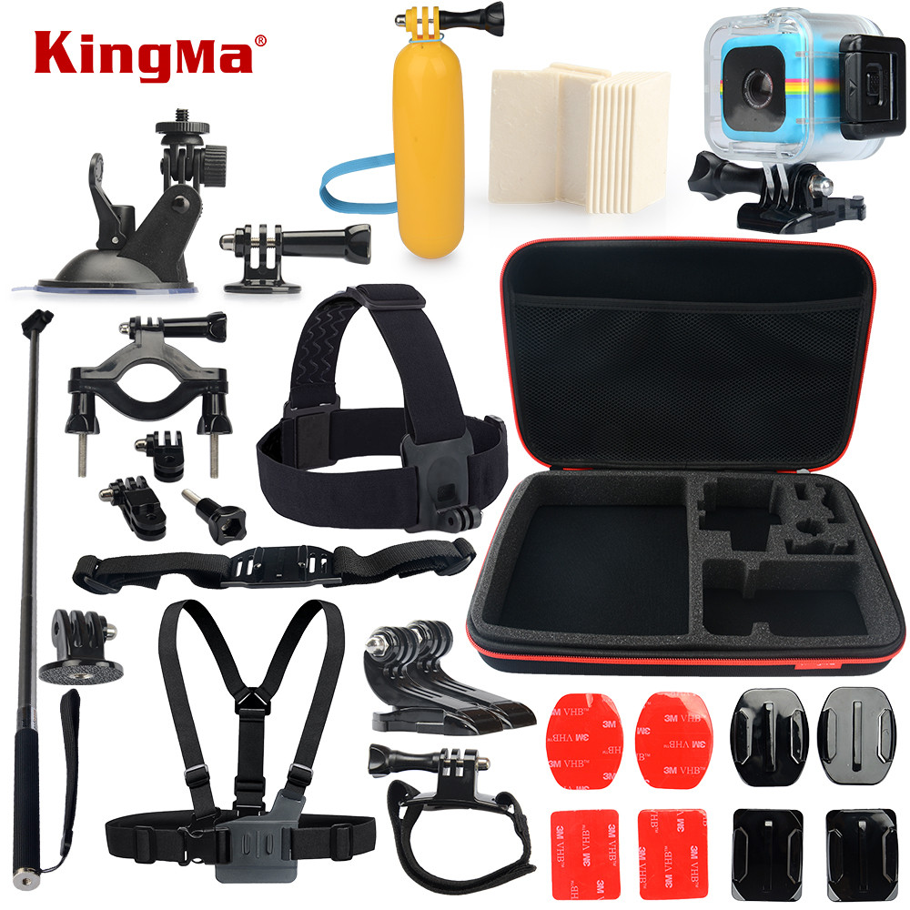 KingMa For Polaroid Cube Waterproof Case 13-in-1 Accessories Kit for Polaroid Cube and Cube+ Accesorios set цена