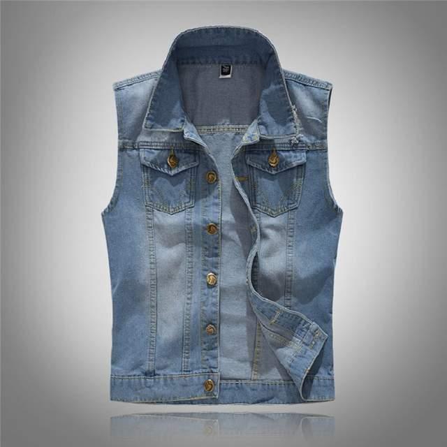 befb7af716400 Grandwish Cotton Jeans Sleeveless Jacket Men Plus Size 5XL Dark Blue Denim  Jeans Vest Men Cowboy
