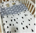 New Arrived Hot Ins crib bed 100% cottotton 3pcs baby Bedding set include pillow case+bed sheet+duvet cover without filling