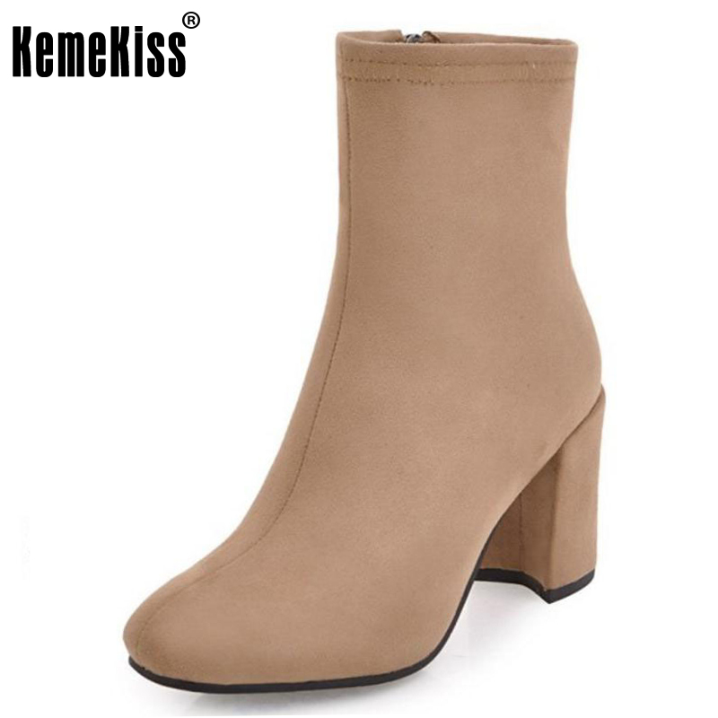KemeKiss Lady Mid Calf Warm Boots High Heel Shoes Women Solid Color Zipper Heels Boots Ladies Office Daily Footwear Size 33-43 double buckle cross straps mid calf boots