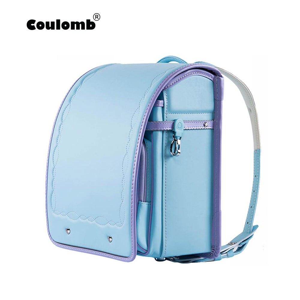 Coulomb Children's Backpacks For Girls School Bags For Kids Orthopedic School Female Satchel Japanese PU Randoseru Baby Bags-in School Bags from Luggage & Bags    1