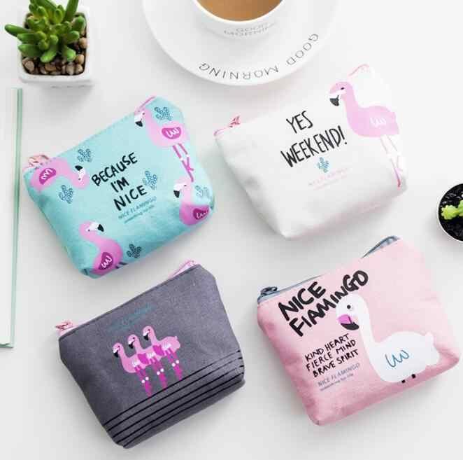 Rose flamingos diário new bonito canvas coin bolsas zipper menina menino mulheres de zero carteira bolsa da moeda saco chave de armazenamento de pacote caixa