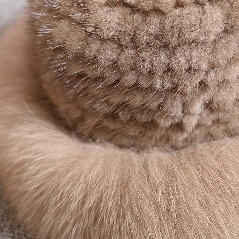 Réel vison fourrure femme chapeau renard fourrure beanie casquettes hiver femme chapeaux mode vison fourrure tricot chapeau - 5