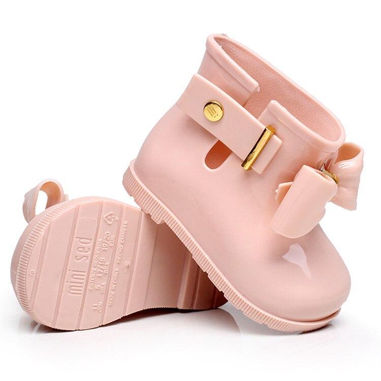 Mini Melissa 2019 Novo Mini Crianças Botas de Chuva da Geléia Bowknife Não-deslizamento Meninas À Prova D' Água Botas de Chuva da Geléia Sapatos Sandálias Princesa