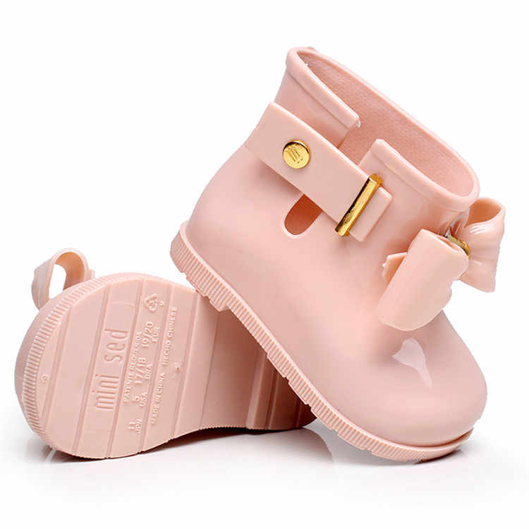Mini Melissa 2019 nuevas Mini Botas de lluvia de goma Bowknife para niños, Botas de lluvia antideslizantes impermeables para niñas, zapatos de gelatina de princesa, sandalias