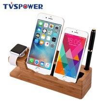 Деревянная зарядная док-станция для планшетов для 2 мобильных телефонов, держатель Bamboo USB, Подставка для зарядки Apple Watch для iphone samsung