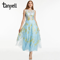 Tanpell Long Evening Dress Blue Sleeveless Ankle Length A Line Gown Cheap Women Prom Homecoming Scoop