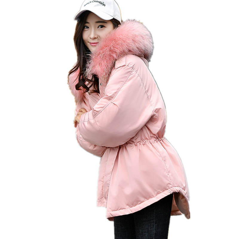 Fur Collar Down Cotton Hooded Solid Color Thick Warm Winter Jacket High Quality Coat Fashion Large Womens Winter Jackets TT3315 new winter women s down cotton coats fashion solid color hooded fur collar bread jacket plus size thick warm outerwear okxgnz860
