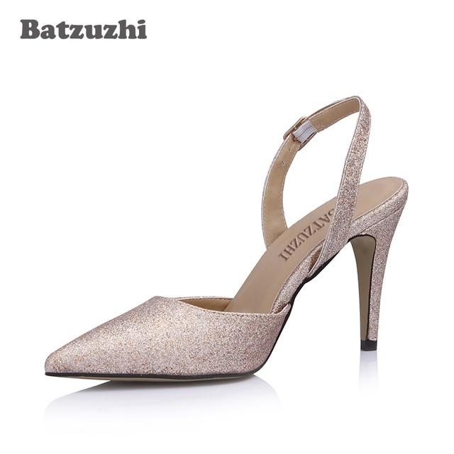 0d2ea0f17f3 Batzuzhi 9cm Women Shoes Pointed Toe Light Gold Women Dress High Heel Shoes  Slingback Pump Shoes for Women Ladies