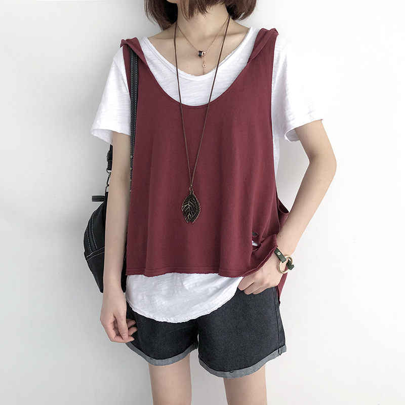 Big Size Casual Loose Vest Female Summer New Wear Wild Simple Sleeveless Shirts Cotton Tank Tee Shirt Fashion Hooded Tops f700