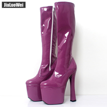 JIALUOWEI  20cm Extreme High Heel Thick Chunky Heels Platform Women Knee-High Long Boots -Exotic,Fetish,Sexy,Shoes
