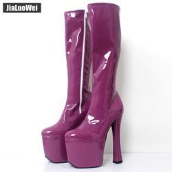 JIALUOWEI/женские высокие сапоги до колена на платформе и очень высоком толстом каблуке 20 см, экзотический фетиш, пикантная обувь