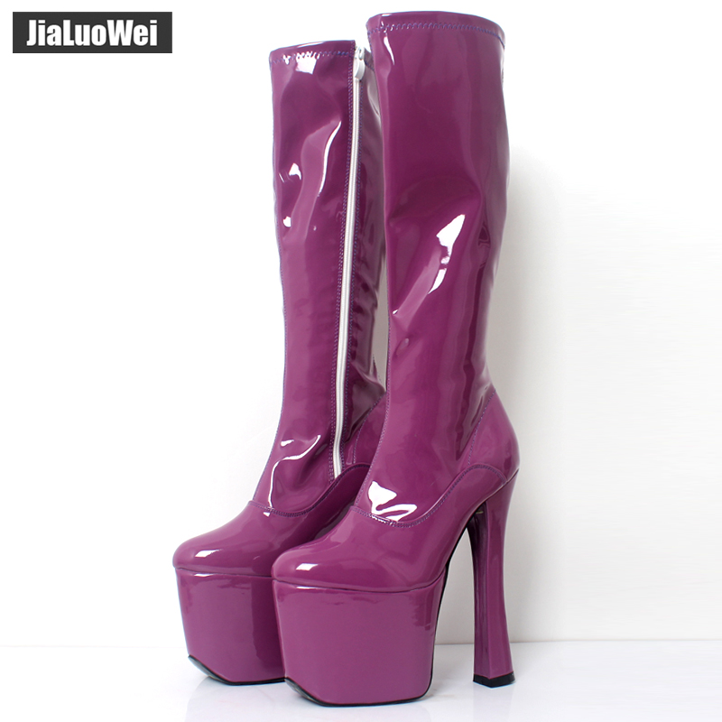 JIALUOWEI 20cm <font><b>Extreme</b></font> <font><b>High</b></font> <font><b>Heel</b></font> Thick Chunky <font><b>Heels</b></font> Platform Women Knee-<font><b>High</b></font> Long <font><b>Boots</b></font> -Exotic,<font><b>Fetish</b></font>,<font><b>Sexy</b></font>,Shoes image
