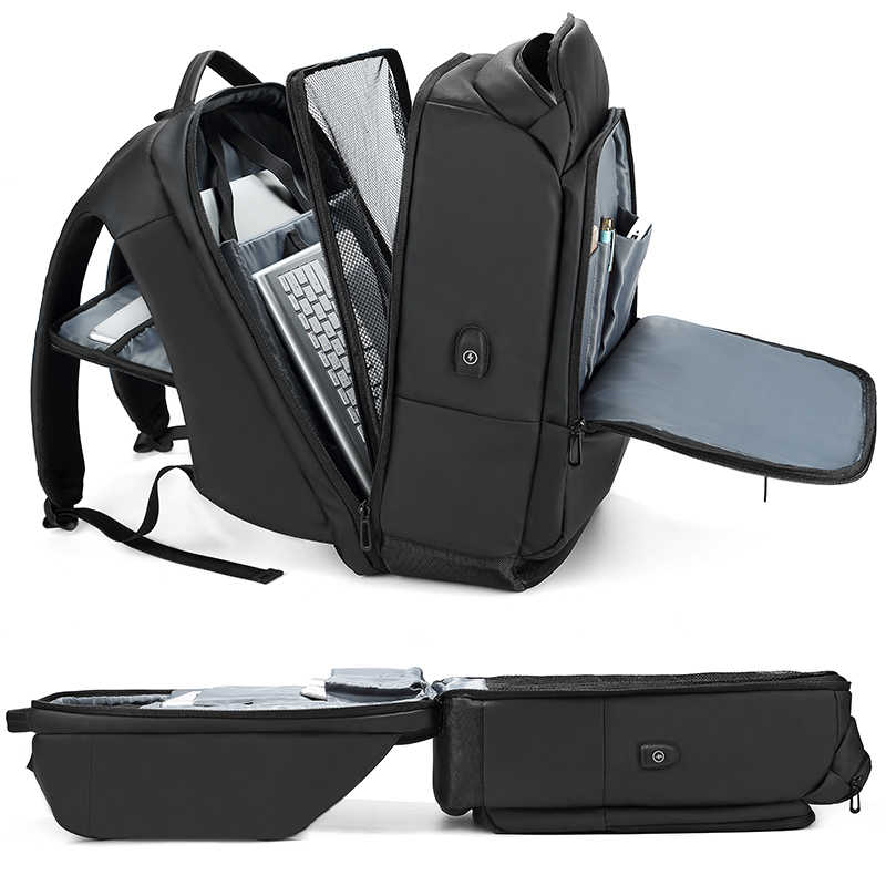Mochila para portátil EURCOOL de 17 pulgadas para hombre, mochila funcional repelente al agua con puerto de carga USB, mochilas de viaje para hombre n1755