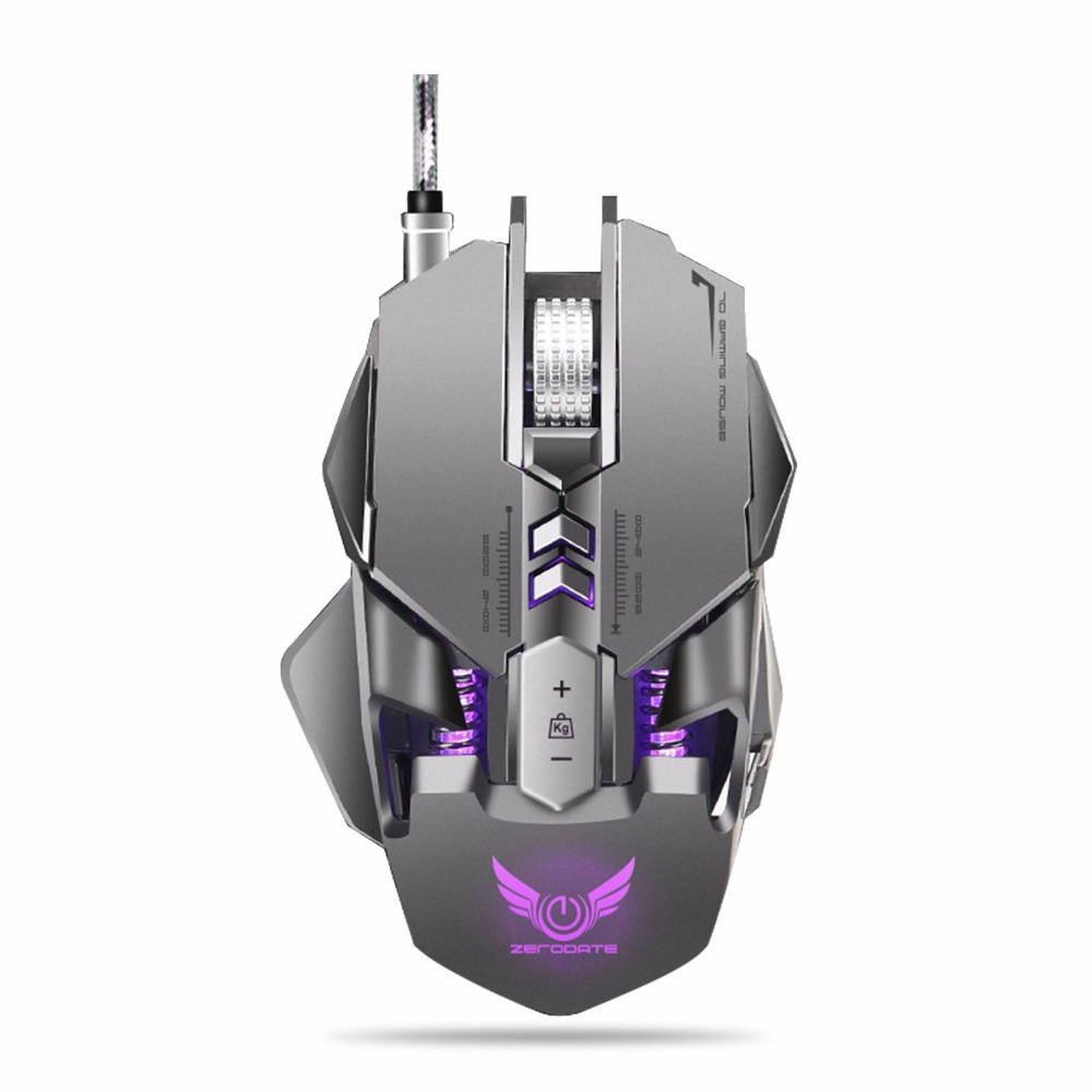 JUKSTG-ZERODATE 7 Programmable Buttons Weight Adjustable Wired gaming mouse With RGB Circular And Breathing Light