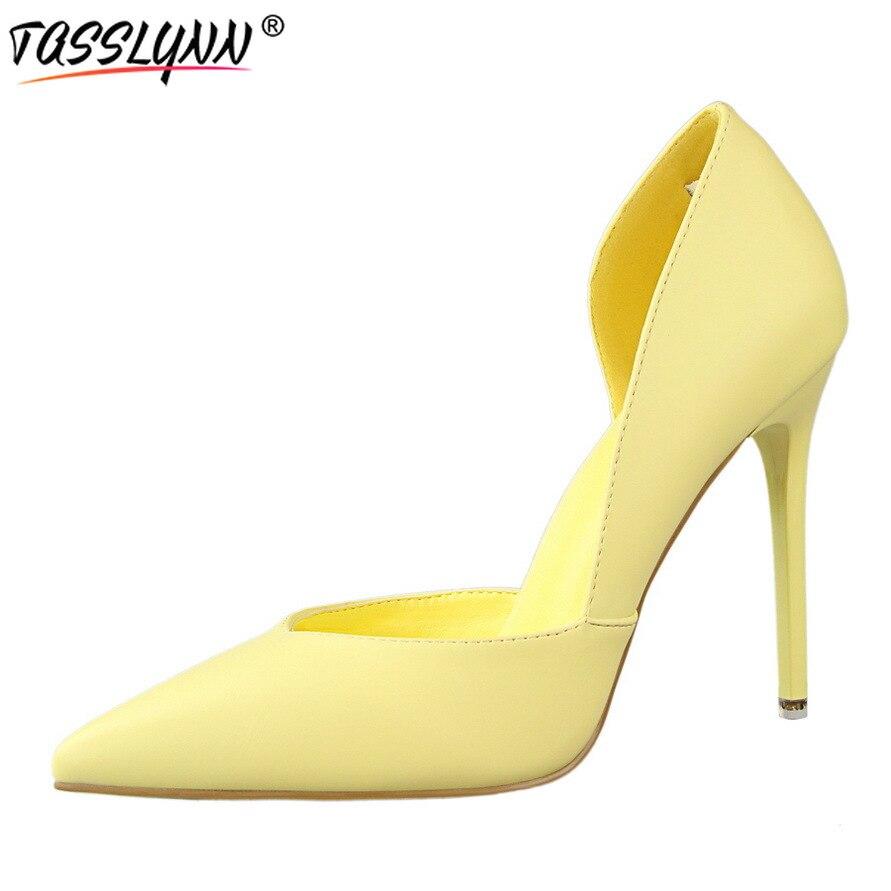 Tasslynn 37 Dame Les À Mince Pompes Pointu blanc jaune Printemps Slip Hauts Noir Sur Talons Bout 2019 Club Taille Femmes Chaussures gris Eté Night rouge Sexy rose xBCdero