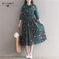 Mori Girl Vintage Dress Floral Printed Long Dress 2017 Spring Autumn Women Elastic High Waist Pleated
