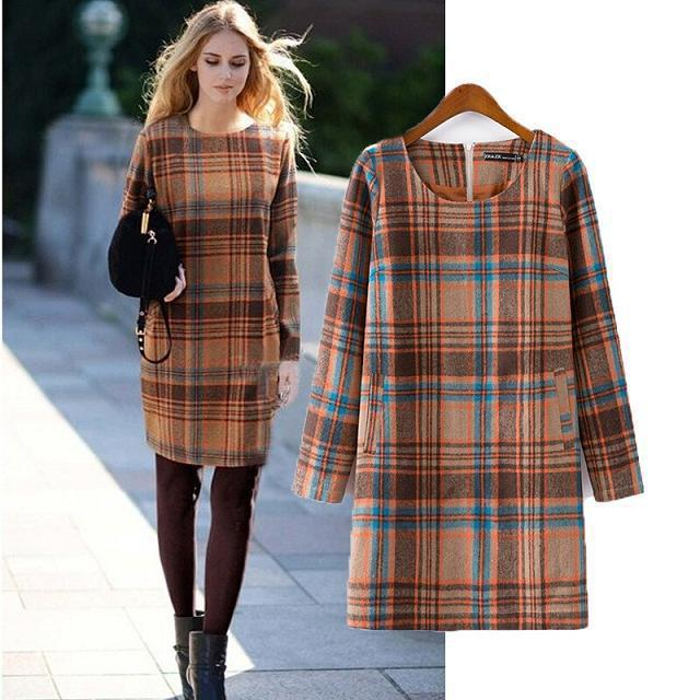 New arrival autumn and winter clothing women fashion plaid wool dress, female high quality brand casual long sleeve warm dresses