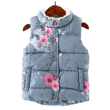 2016 Baby Girls Clothes Winter Vest  Warm Waistcoat Flowers Printed Kids Vests Jacket Thick Toddler Outwear