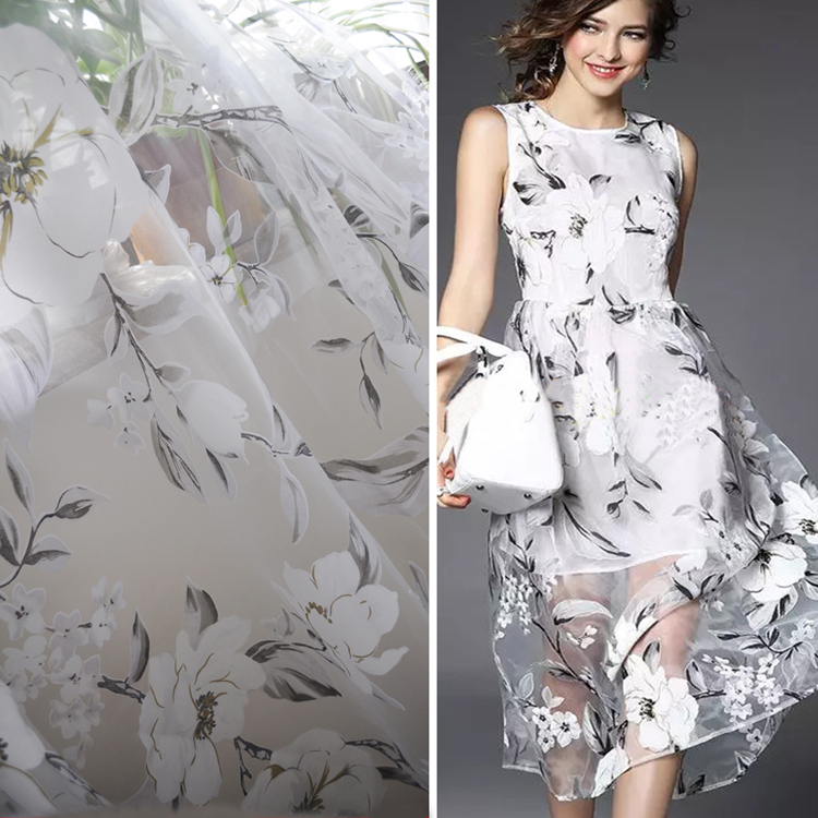 Buy large floral print gauze high grade for Wedding dress fabric stores