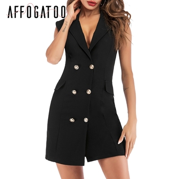 Affogatoo Sexy elegant office ladies black blazer dress women Casual bodycon sleeveless double breasted Summer short dress femme 1
