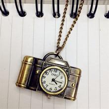 Montre Femme Top Brand Unisex Vintage Bronze Camera Design Pendant Pocket Watch Necklace Relogio Masculino Dress Clock Gift M/5