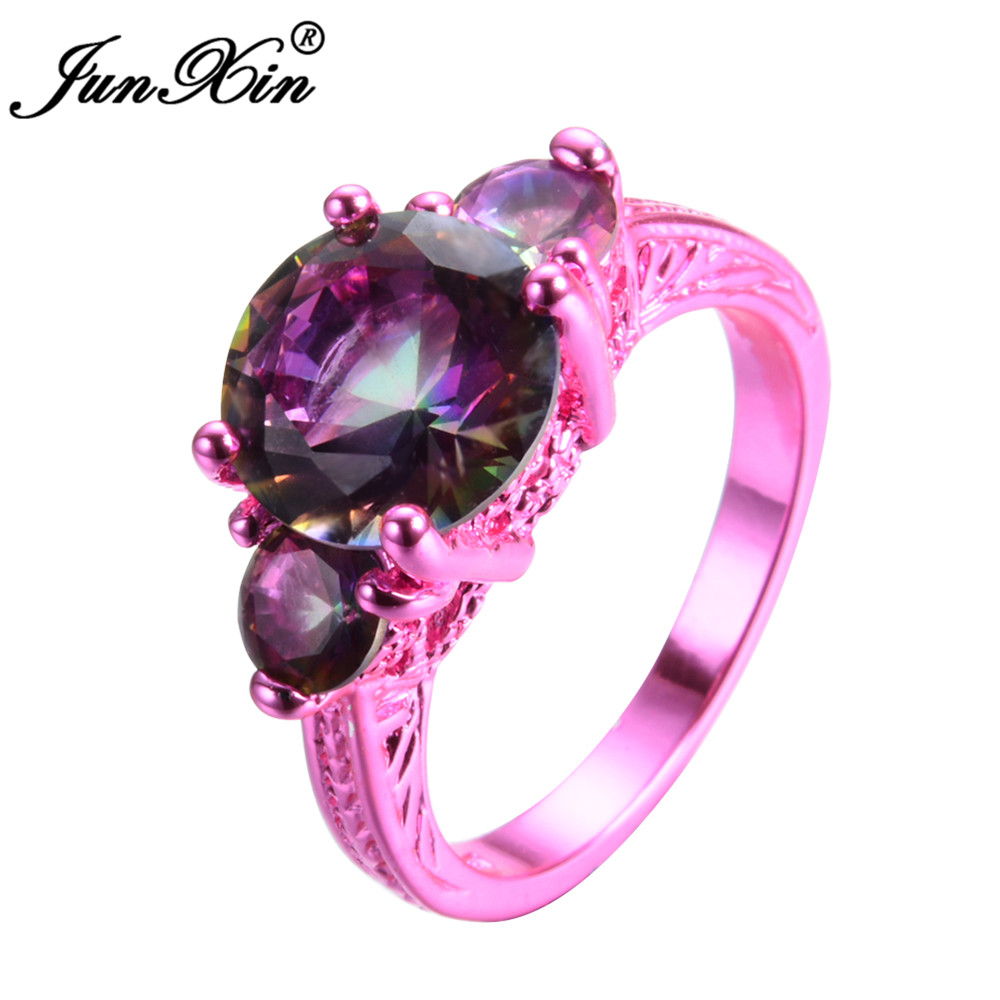 JUNXIN 2017 Newest Mystery Women Rainbow Ring Bohemian Pink Gold ...