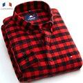 Langmeng Frete Grátis Moda Plus Size Dos Homens de Manga Comprida camisas de Flanela Quente Camisa Outono dos homens Camisas de vestido camisa masculina