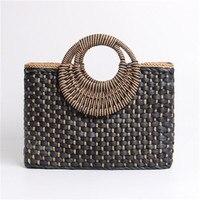 Женская плетеная сумка-шоппер, пляжная соломенная сумка черного цвета с плетеными круглыми ручками, в богемном стиле, с застежкой на молнии,...