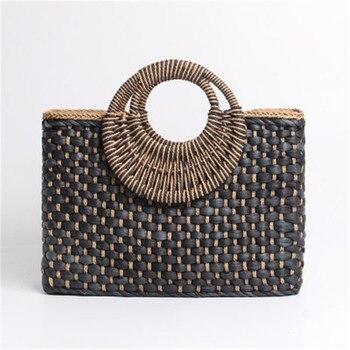 2019 bolso de la compra de la cesta de la mano del color negro de la isla de Bali bolso tejido de mano de la hebilla de la mariposa Bolsas de paja Satchel viento Bohemia playa bolsa