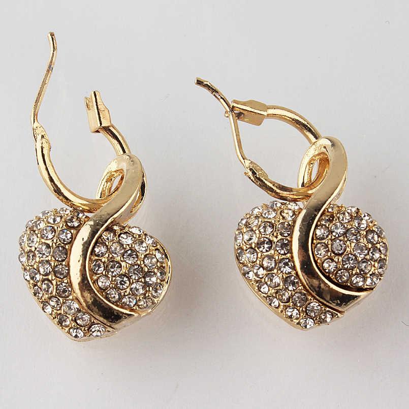 Kostenloser versand Mode Schmuck Luxus Gold-farbe Romantische Österreichischen Kristall herz form Kette Halskette Ohrringe Schmuck Sets