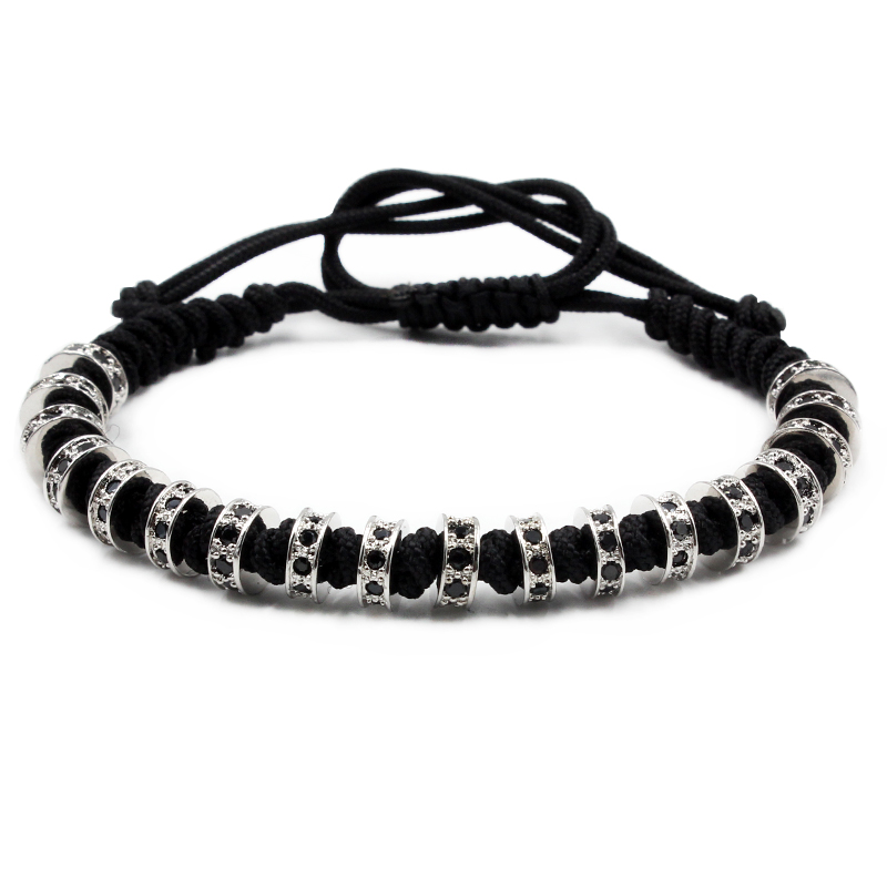 New Men Bracelets Gold Color Beaded Weaving Haute Couture Fastness Micro Inlay Zircon CZ 7mm Stopper Beads Braiding Macrame