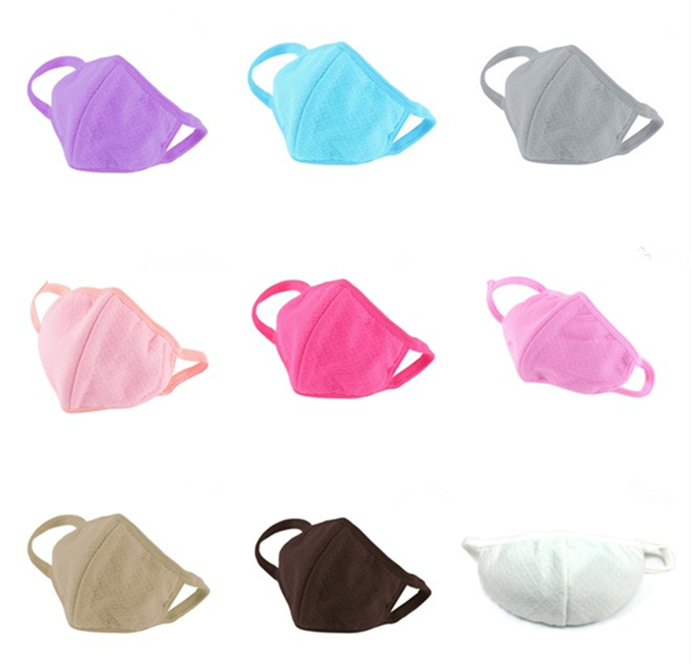 One Piece Pure Color Mask Respirator Health Cycling Anti-Dust Mouth Face Mask Women Fashion Facial Care Masks