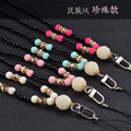 For iphone Fashion Pearl Long Chain Cell Phone Neck Straps Hang Rope for psp MP4 Smartphone Camera and Other Device for samsung