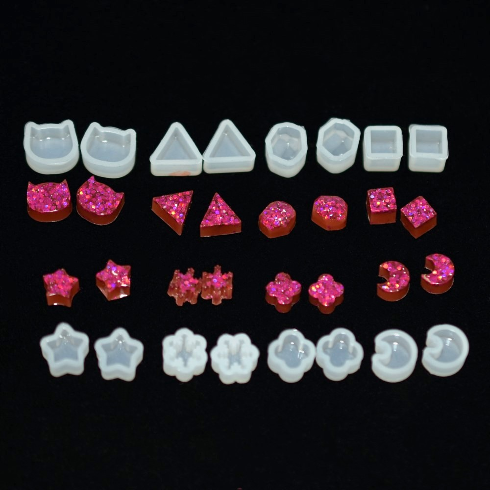 SNASAN 8pairs Earrings Beads Silicone Mold Star Moon Clover Snow For Jewelry Resin Silicone Mould Handmade DIY Epoxy Resin Molds