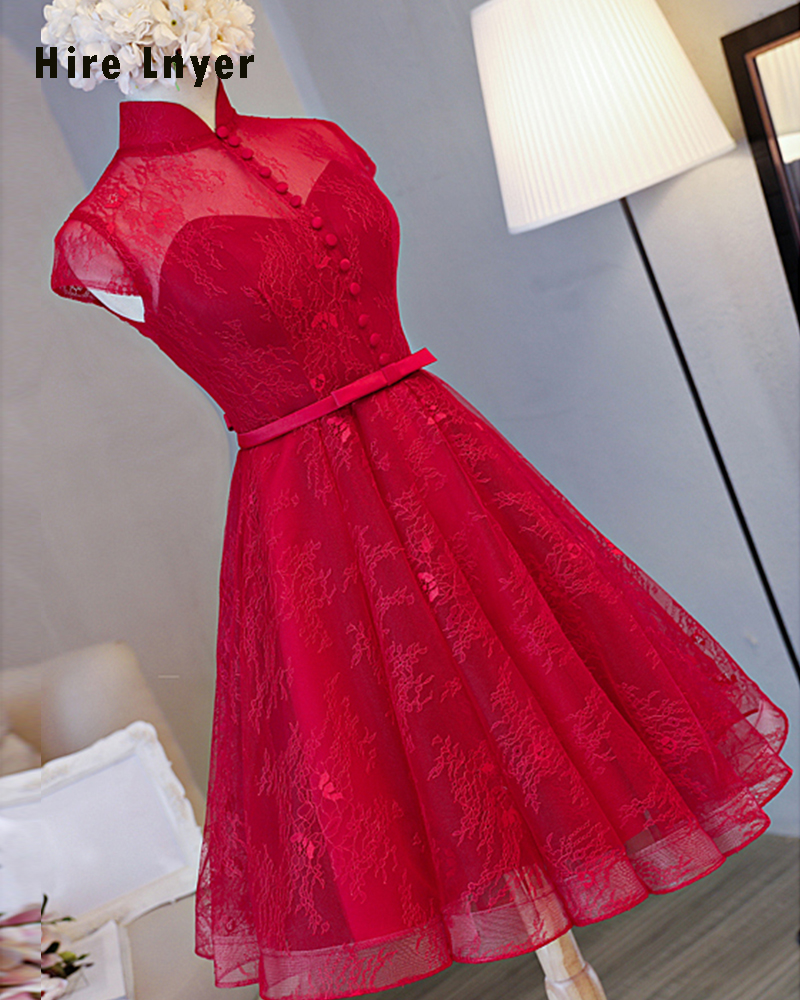 Najowpjg New Special High Neck Cap Sleeve Open Back Button Bow Red Lace Knee Length Bridesmaid Dresses 2019 Aliexpress Login