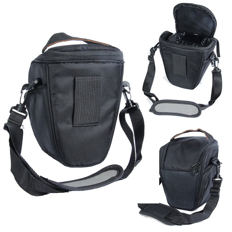 Portable Adjustable Black Nylon Waterproof Camera Bag <font><b>Case</b></font> For Sony Canon <font><b>Nikon</b></font> D5200 D5100 D5000 <font><b>D3100</b></font> With Shoulder Strap 5035 image