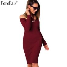 Forefair Сексуальная Слэш Средства ухода за кожей Шеи повод Bodycon платье для женщин; Большие размеры с длинным рукавом вязаный осень-зима платье