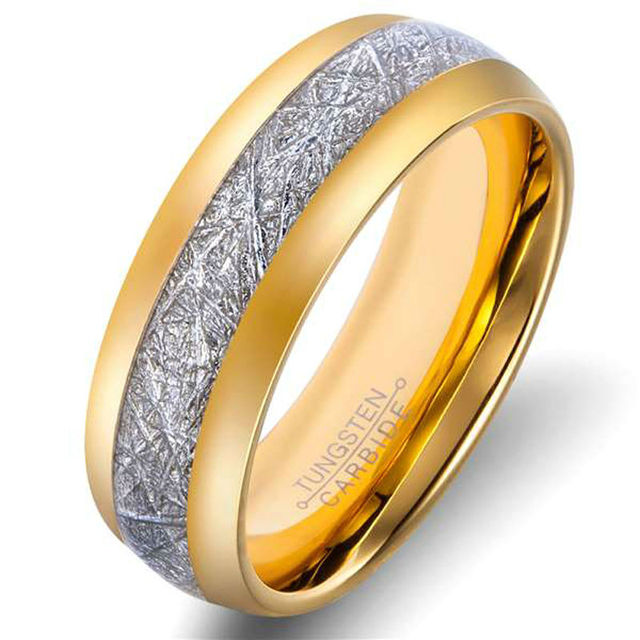 Tungsten  Rings Gold Plated Inlay