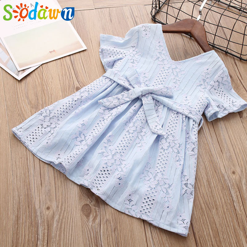Sodawn 2018 Summer New Fashion V-neck Solid Color Hollow Belt Childrens Clothing Girls Dress Wholesale Lace Girl Princess Dress