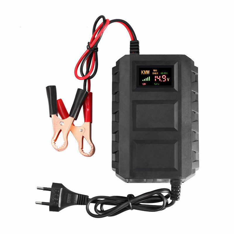 Intelligent 12V 20A Automobile Car Motorcycle Smart Sealed Lead Acid Battery Charger LED Digital Display EU/US/ Plug